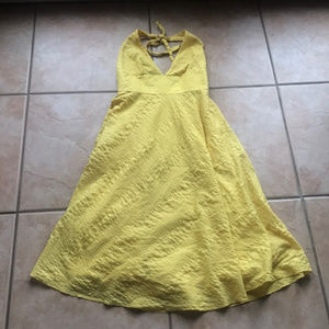 J. Crew Yellow Embossed Halter Beach Dress Size 4